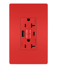 radiant® 20A Tamper-Resistant Self-Test GFCI USB Type-AC Outlet, Red