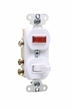 Discontinued | Non-Grounding Three-Way Combination Switch & Pilot Light, White | Sub 695WG