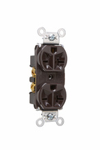 Heavy-Duty Spec Grade Receptacles, Back & Side Wire, 20A, 250V, Brown