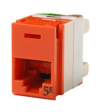 Clarity 5E panel jack, rear load, T568A/B, 180 deg, orange