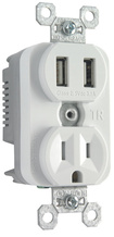Tamper-Resistant Single Receptacle w/ 3.1A USB Charger, White