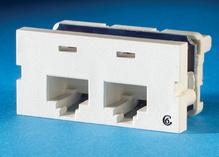 Series II, two-port Clarity 6,T568A/B, 180 degree, Fog White