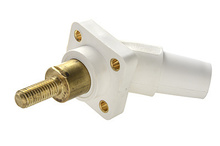 Series 16 45° 2'' White Threaded Stud Panel Mount - Male
