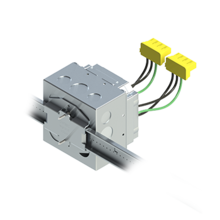 4'' Square Box with 2-Gang Adj. Plaster Ring and 2 Grounded PlugTail Switch Connectors with protective mud cover - Box of 10 [EF000038]