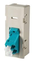 TracJack Module, 1-LC Duplex (2 Fibers) Multimode, Aqua adapters, 45 degree angled exit