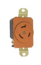 20 Amp NEMA L820 Single Receptacle, Orange, Isolated Ground