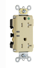 20A Extra Heavy-Duty Decorator Power Indicating Hospital-Grade Receptacle, Ivory