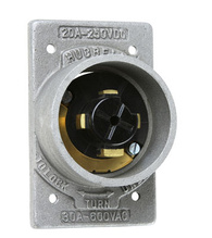 30 Amp Power Interrupting Flanged Inlet, Die-Cast for FS and FD Box