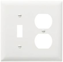 Combination Openings, 1 Toggle Switch & 1 Duplex Receptacle, Two Gang, White