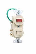 Grounding Three-Way Combination Switch & Pilot Light, Ivory