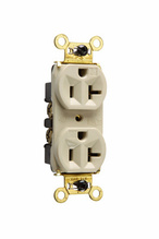 Weather-Resistant Heavy-Duty Spec Grade Receptacles, Back & Side Wire, 20A, 125V, Ivory