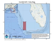 This is a map of Pulley Ridge essential fish habitat, habitat area of particular concern in the Gulf of Mexico.