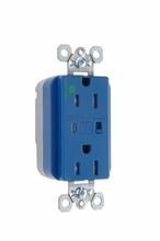 PlugTail® Hospital Grade Tamper-Resistant Surge Protective Duplex Receptacle, Blue