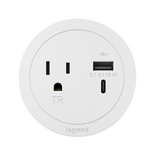 ROUND FPC, 1 OUTLET, USB, WHITE COMBO USB-A AND USB-C