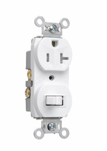 20A, 120/125V Combination Single-Pole Switch & Tamper-Resistant Single Receptacle, White