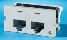 Series II, two-port Clarity 6,T568A/B, 180 degree, Wiremold Lt Gray