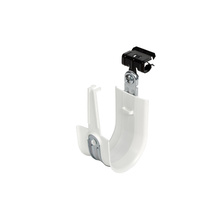 2'' White Plastic Coated J-Hook w/ Latch & Knock-on Beam Clip 5/16-1/2'' Box of 25 [F000682]