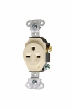 Heavy-Duty Spec Grade Single Receptacles, Side Wire, 15A, 250V, Ivory