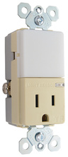 Night Light with Single 15A Tamper-Resistant Outlet, Ivory