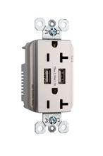 Fed Spec Grade USB Charger w/ Tamper-Resistant 20A Duplex Receptacles, Nickel