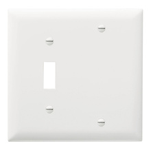 Combination Openings, 1 Toggle Switch & 1 Blank, Two Gang, White