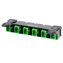 HDJ Series 6 SC to SC Simplex Fiber Adapter Panel, 6-Fiber OS2 - Green
