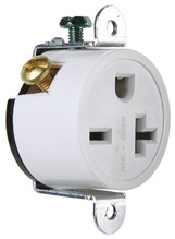 Short Strap Spec Grade Single Receptacle, Side Wire, 20A, 250V, White