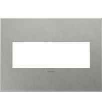 adorne® Brushed Stainless Steel Three-Gang Screwless Wall Plate