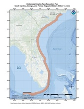 This is a map of the Bottlenose Dolphin Take Reduction Plan for South Carolina, Georgia and Florida.
