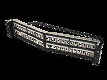 Clarity 48-Port 2RU Shielded High Density Jack Unloaded Angled Panel Black