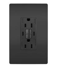 radiant 15A Tamper Resistant Outdoor Self Test GFCI USB Type CC Outlet, Black