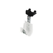 1'' White Plastic Coated J-Hook w/ Latch & 90° Angle Clip Knock-on Beam Clip 5/16-1/2'' Box of 25 [F000666]