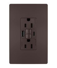 radiant® 15A Tamper-Resistant Self-Test GFCI USB Type-AC Outlet, Dark Bronze, 4-Pack