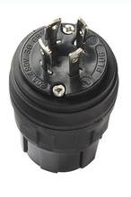 20A, 3ø 480V Turnlok® Watertight Plug, NEMA 4X/6P, Black