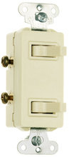 15A, 120/277V Decorator Combination Two, Non-Grounding/Single-Pole Switches, Ivory