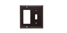 Combination Openings, 1 Toggle Switch & 1 Decorator, Two Gang, Brown