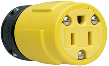 15A, 125V Rubber Dust-Tight Connector, Yellow