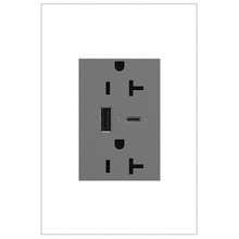 adorne 20A Tamper-Resistant Ultra-Fast USB Type A/C Outlet - Magnesium