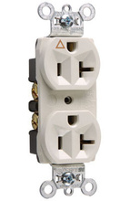 Isolated Ground Heavy-Duty Spec Grade Receptacles, Back & Side Wire, 20A, 125V, White