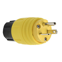 20A, 125V Watertight Straight Blade Plug, Yellow