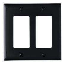 ThermoplasticTwo Gang Decorator Wall Plate, Black