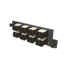 Infinium M4 HDFP Adapter Panel, 8 Keyed Front Non-Keyed Rear LC Duplex Adapters, 16 Fibers, Black