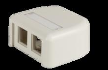 HDJ 2 port plastic surface mount box - fog white - with label field
