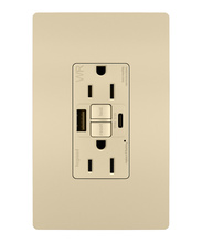 radiant 15A Tamper Resistant Outdoor Self Test GFCI USB Type AC Outlet  Ivory