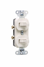 Two Grounding Single-Pole Combination Switches, Light Almond