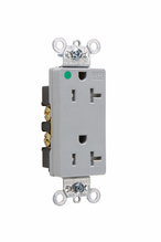 Tamper-Resistant Heavy-Duty Decorator Hospital Grade Receptacles, Back & Side Wire, 20A, 125V, Gray