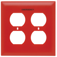 Pad Printed Wall Plate, Emergency, Two Gang Duplex Receptacle, Red