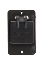 """1-Gang Flip Lid 1.56"""""""" Diameter Single Receptacle Cover Plate, Black"""
