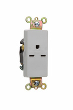 Heavy-Duty Decorator Spec Grade Single Receptacles, Back & Side Wire, 15A, 250V, Gray