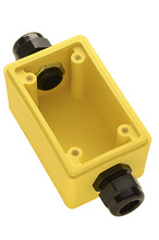 "Watertight Deep Yellow Back Box, 3/4"""" Feed Thru NPT for Duplex Receptacles"